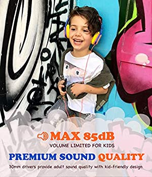 Kids On-Ear Headphones, OneAudio Comfortable 85dB Volume Limiting Wired Headsets Lightweight Customizable Cartoon Painting DIY with 3.5mm Jack Christm