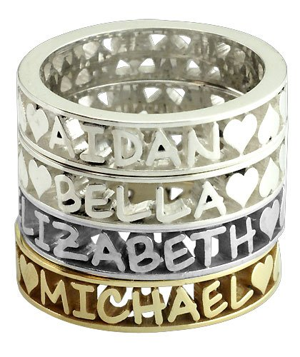 Landon Stackable Name Ring with Frame in Sterling Silver, finger sizes 4 to 9