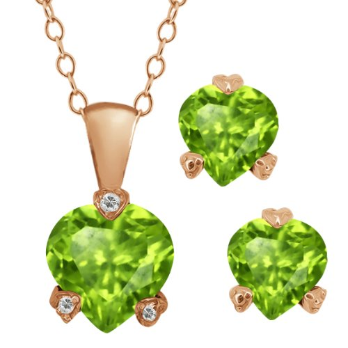 3.08 Ct Heart Shape Green Peridot Gemstone 18k Rose Gold Pendant Earrings Set