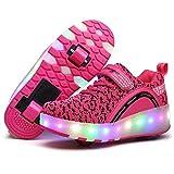 Nsasy YCOMI Girl's Boy's LED Light Up Shoes Single Wheel Double Wheel Roller Skate Shoes(34 M EU/3 M US Little Kid)