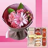 誕生日プレゼント ピンク花束&有精卵たっぷりスイーツセットB お母さんへのメッセージカード付き