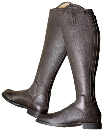 USG Riding Boot Style with Narrow Cut, Size 39, Calf Height 47.5 cm, Calf 34.9 cm, Brown Shagreen Leather