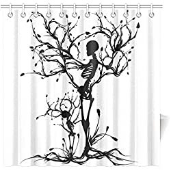 InterestPrint Tree of Life Home Decor,Skull Tree Black White Polyester Fabric Shower Curtain Bathroom Sets 72 X 72 Inches