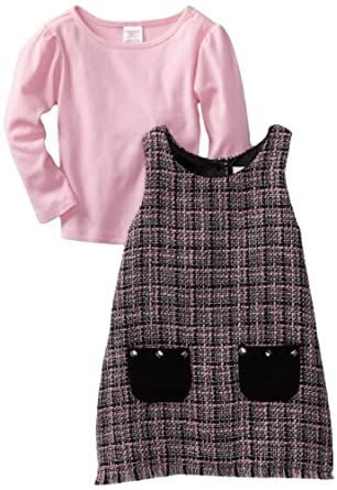 Youngland Little Girls' Two Piece Boucle With Functional Pocket Jumper Set, Pink Black, 3T
