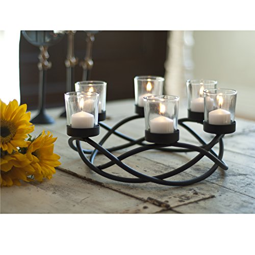 Black wrought iron candle holder centerpiece tealight