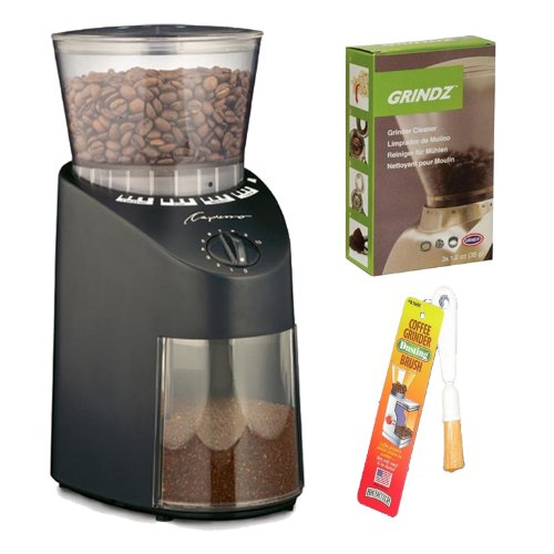 Capresso Jura Infinity 560 Conical Burr Coffee Grinder - Black + Coffee Grinder Dusting Brush + 3-Pack 35G Grindz Coffee Grinder Cleaner