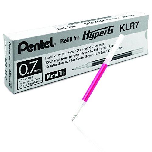 Pentel HyperG KLR7-P Lot de 12 cartouches d'encre rechargeables pour Pentel KL257 Rose 0,35 mm