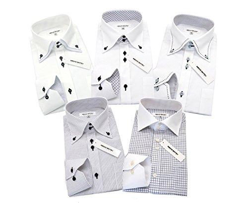 (メンズ バツ) MEN'S BA-TSU ワイシャツ 形態安定 長袖 【超細身 スリム】 モノトーンbe 5枚セット(M39-82) メンズ ビジネス ワイシャツセット