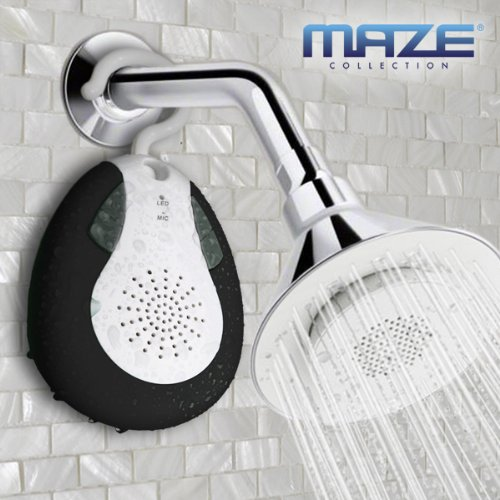 Maze Collection Hybrid Waterprof Wireless Bluetooth Shower Speaker With Hook Handle, Auto Fm Shower Radio Compatible With All Bluetooth Devices, Iphone 5 Siri And Android Devices (Black)
