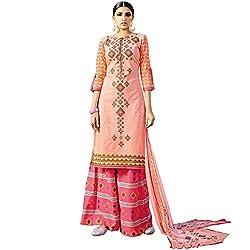 SHELINA Women Peach lawn cotton printed salwar suit