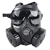 Coxeer M50 Airsoft Mask Full Face Skull CS Mask With Fan (Black)