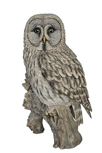 Grey Owl On Stump Statue by Hi-Line Gift Ltd.