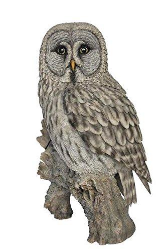 Grey Owl On Stump Statue by Hi-Line Gift Ltd.