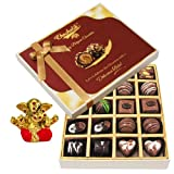 Chocholik Belgium Chocolates - 20pc Dark And Milk Chocolate Box With Small Ganesha Idol - Diwali Gifts