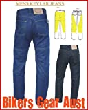 Australian Bikers Gear Blue Kevlar Classic Jeans Motorcycle CE Armoured (38L) - 38L