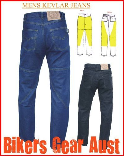Australian Bikers Gear Blue Kevlar Classic Jeans Motorcycle CE Armoured (36R) - 36R