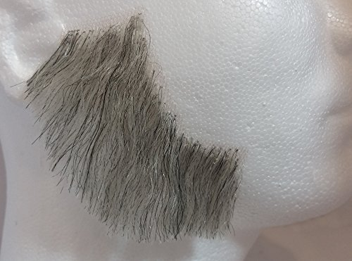 Sideburns LIGHT GREY - 100% Human Hair no. 2019 - REALISTIC! - Perfect for Theater - Reusable! (Theatrical Moustaches And Beards)