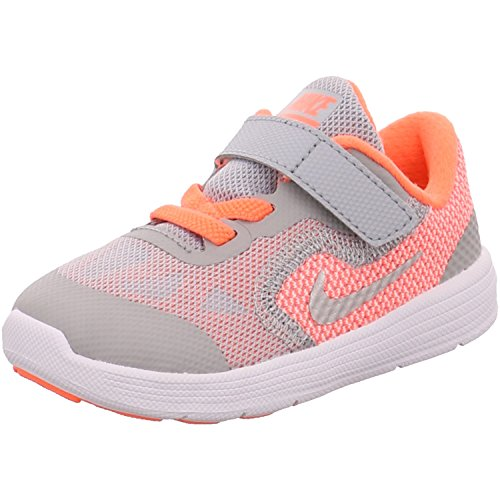 Nike Revolution 3 (TDV), Stivaletti bambine Multicolore Amarillo / Plateado / Gris (Brght Mango / Mtllc Slvr-Wlf Gry) 27