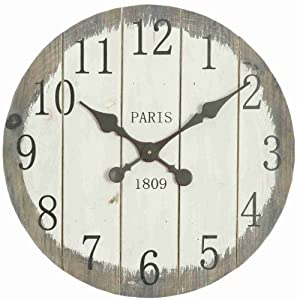 rustic large 50cm wall clock grey washed slatted 1809 co uk kitchen home