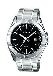 Casio MTP-1308D-1AVEF Gents Watch Quartz Analogue Black Dial Silver Steel Strap