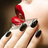 Artzloom Makeup And Manicure Black Nails And Red Lips Canvas Art Print Without Frame - Size 55.1 Inch X 55.1 Inch