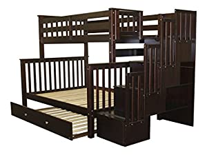Bedz King Stairway Bunk Bed with 4 Drawers in The Steps and a Twin Trundle, Twin Over Full, Cappuccino