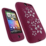 igadgitz Pink & White Flower Design Silicone Skin Case Cover for HTC Desire ....