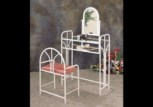White Art Deco Vanity Glass Table Set Make Up Mirror