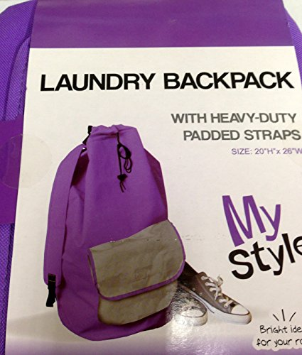 Heavy Duty Laundry Backpack With Padded Straps - Purple With Gray Pocket front-431957