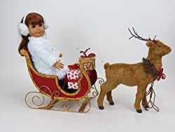 18 Inch Doll Christmas Sleigh With Reindeer