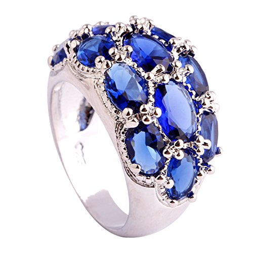 Psiroy Women's 925 Sterling Silver 7.75cttw Sapphire Quartz Filled Ring