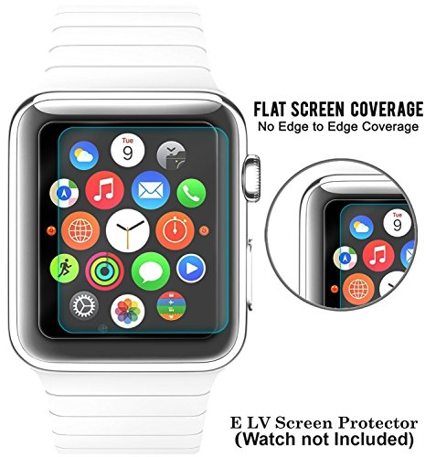 Elv Crystal Clear HD Tempered Glass Screen Guard Protector for Apple Watch 42mm,