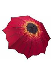 Galleria Large Red Daisy Flower Stick Umbrella Scalloped Edge