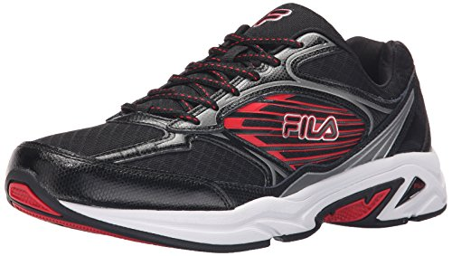 Fila Men's Inspell 3-M Running Shoe, Black/Dark Silver/Fila Red, 10.5 M US