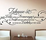 Wandtattoo-Günstig G027 Wandtattoo Wandaufkleber Wandsticker Zitat Zuhause ist wo die Liebe wohnt ... Familie Liebe Lächeln Blumenranke braun (BxH) 58 x 20 cm