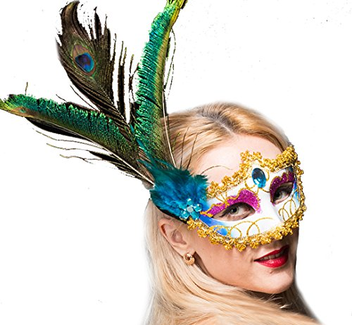 Moolecole Luxury Women's Mask Halloween Christmas Party Masquerade Cosplay Mask Feather Blue