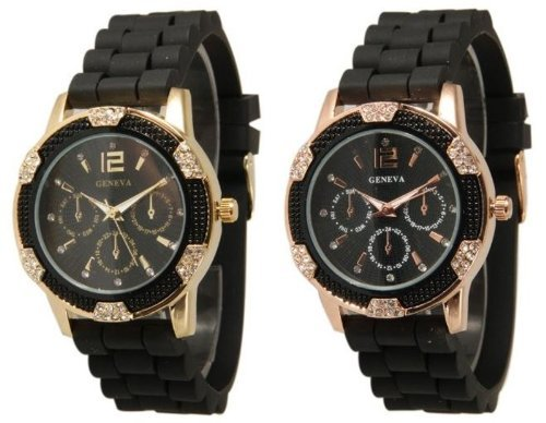 2 Pack Black Gold and Rose Gold Crystal Rhinestone Geneva Faux Chronograph Watch