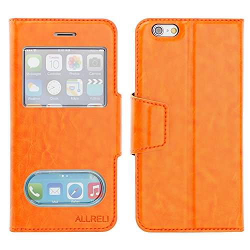 iPhone 6 Case Leather Flip View Cover Orange