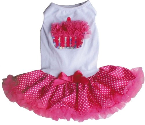 Hotpink / White Cupcake Petti Dress For Dogs, 13 - 15 Inch