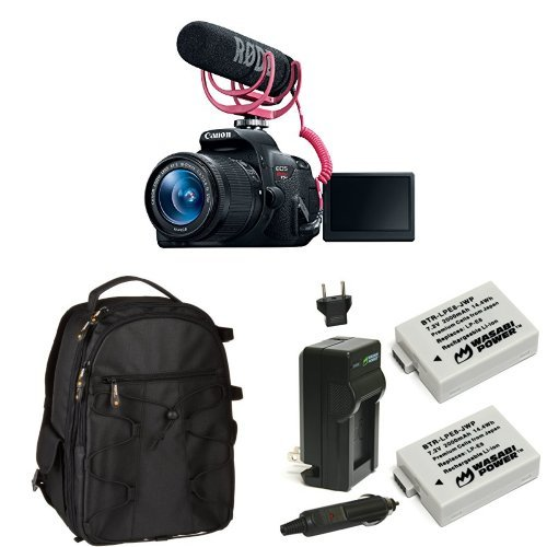Canon EOS Rebel T5i Video Creator Kit with 18-55mm Lens, Rode VIDEOMIC GO and Sandisk 32GB SD Card Class 10 + Memory Card, Bag and Battery
