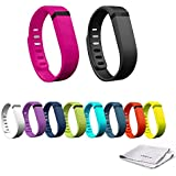 innis®10pcs Large Wristband:Black,White,Rose Bloom,Purple (Purple/Pink),Navy (Blue),Slate (Blue/Grey),Lime (Green),Teal (Blue/Green),Orange,Lemon Yellow Replacement Band + Clasps For Fitbit Flex /No Tracker+1× innis® logo Cloth(15cm*15cm)