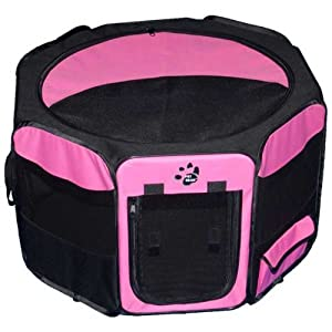 "Pet Gear Travel Light Octagon Pet Pen With Removable Top for Cats and Dogs 42""L x 42""W x 28.25""H -Pink"