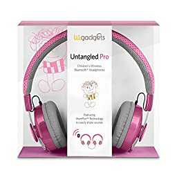 LilGadgets Untangled Pro Premium Children\'s Wireless Bluetooth Headphones with SharePort - Pink