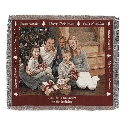 Personalized Christmas Landscape Photo Art Throw Blanket With Custom Embroidery front-719711