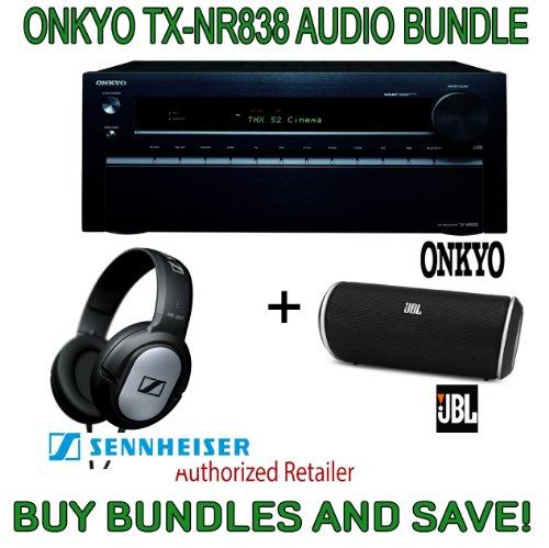 Onkyo Tx-Nr838 7.2-Channel Network A/V Receiver, Plus Jbl Flip Portable Wireless Bluetooth Speaker And Sennheiser Stereo Headphones