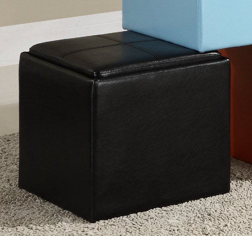 Storage Cube Ottoman - Black Bi-Cast Vinyl By Homelegance