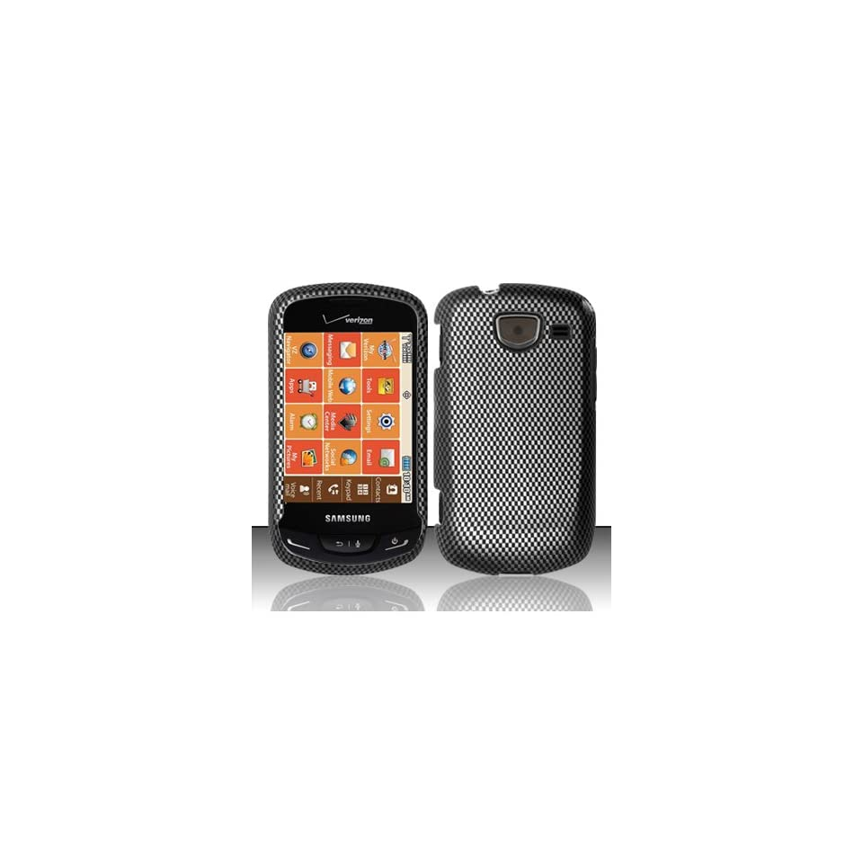 Black Carbon Fiber Hard Cover Case for Samsung Brightside SCH U380 Cell Phones & Accessories