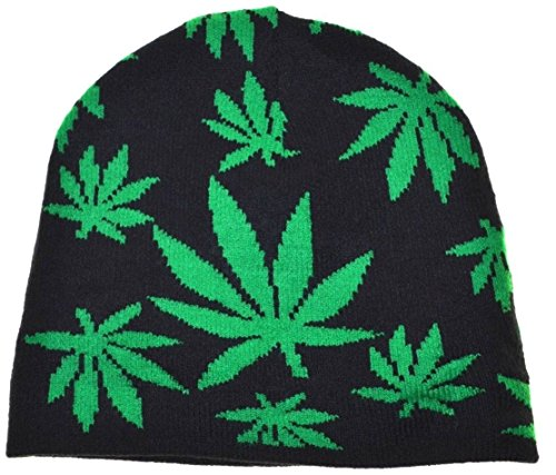 City-Ganja-Marijuana-Leaves-Beanie-Knit-Cuffless-Hat