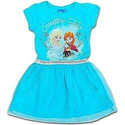 Disney Frozen - Abito Vestito Maniche Corte con Tulle - Bambina - Elsa e Anna - Novità Prodotto Originale 94923225 [Azzurro - 5 anni - 110 cm]