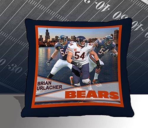 Nfl Biggshots Bedding - Chicago Bears Brian Urlacher Toss Pillow, 18-Inch front-1045554